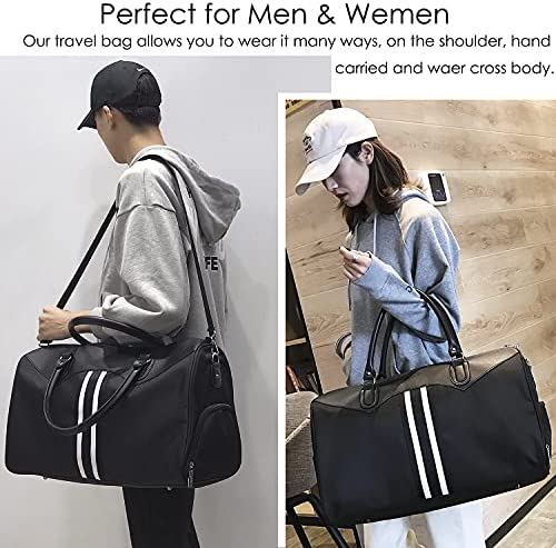 Overnight Weekend Bag Travel Duffel Bags for Men Carry on Gym Bag Shoulder Tote Bag for Sports, Waterproof Nylon Luggage Bag