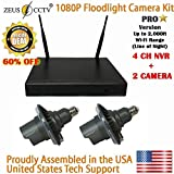 ZEUS CCTV Floodlight PRO Surveillance Camera Standalone Kit with 4CH NVR System + 2 Twist in Flood Light Professional Cameras (Extended WiFi Range) Complete Kit (Proudly Assembled in The USA)