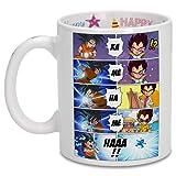 OKIWOKI Taza de cumpleaños con impresión en el asa, en el Interior y en el Exterior - Parodia de Dragon Ball Z -DBZ- Son...
