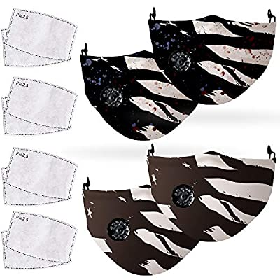 COOLINKO 4 American Flag Face Covering with 8 Activated Carbon PM2.5 Filter Valve and Adjustable Elastic Band - Washable Reusable Fashion Cotton Mouth Head Accessory Mask Set by COOLINKO