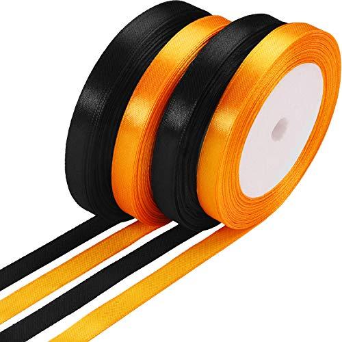 100 Yards Satinband Halloween Geschenkband für DIY-Geschenke, 10 mm Brei (Schwarz und Orange)