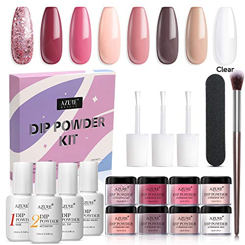 AZUREBEAUTY Nude Pink 8 Colors Dip Powder Nail Kit Starter Acrylic Dipping Powder System Essential Kit for French Nail Manicure Nail Art Set