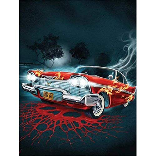 DIY 5D diamond painting kit completo, Carro rojo 60x90cm Adultos Pintura Diamante Diamantes Imitación de Diamante Bordado de Punto de Cruz Pintar con Diamantes Manualidades para Decoración de Pared