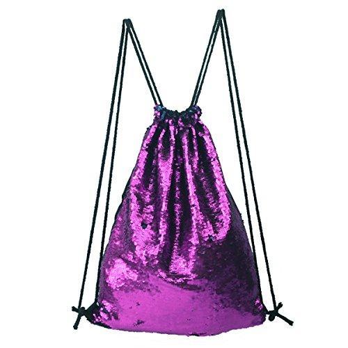 Tinksky Fashion Glitter Bag Sackpack Sequins Drawstring Backpack (Purple Blue)