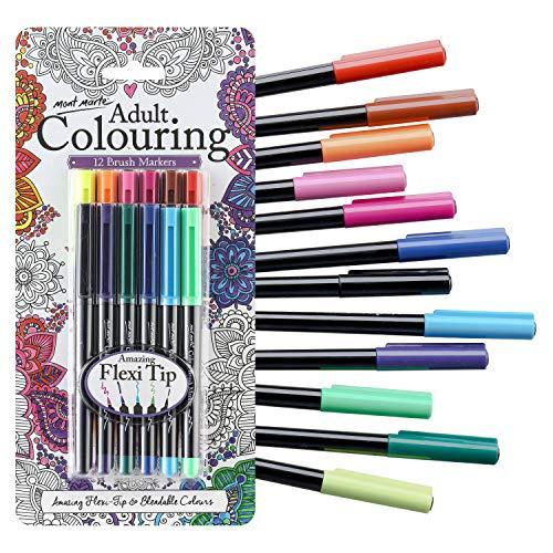 MONT MARTE Pennarelli Colorati - 12 pezzi - Ideali per libri da colorare per Adulti, Letterature a mano e Calligrafia - Perfetti per Principianti, Professionisti e Artisti