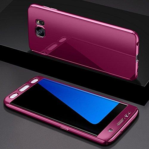 Preisvergleich Produktbild Galaxy S7 Edge Hülle mit Panzerglas, Ukayfe Überzug Spiegel Hardcase 2 in 1 360 Full Body Schutz Schutzhülle Anti-Kratzer Hart PC Skin Rückseite Bumper Handyhülle für Samsung Galaxy S7 Edge,  Lila