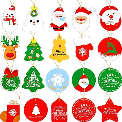 135pz Etichette per Regalo Natale Tag Natalizi in Carta Kraft con Cordicella in Cotone Merry Chirtsmas Etichette Decorazione per Regalo Scatole Scatoline Segnaposto Bomboniere Natale Festa