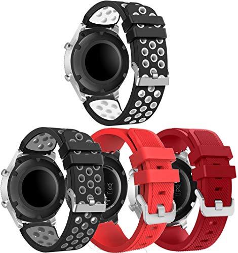 NeatCase Correa de Reloj Compatible con Galaxy Watch 46mm / Watch 3 45mm / Gear Live, Silicona Banda de Reemplazo Pulsera (22mm, 4PCS B)