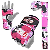 FIGHTSENSE Padded Gel Inner Boxing Gloves for Men and Women with Long Elasticated Hand Wraps for Punching, Boxing, MMA, Muay Thai, Kickboxing and Martial Arts Training Pair (Camo Pink, Small)