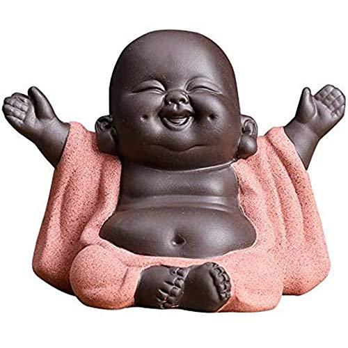 Little Buddha Statue, Figurine Ceramic Laughing Cute Baby Buddha, Chinese Delicate Ceramic Arts, Tea Set Accessories, for Home Office Car Decor (Medium)