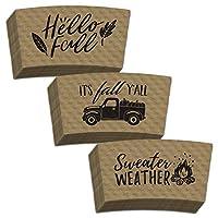 秋のコーヒースリーブバラエティパック:It's Fall Ya'll, Hello Fall, Sweater Weather Designs - クラフトブラウンとブラックプリント - 標準ホットカップにフィット(36個パック)