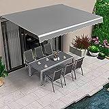 Dripex Store Banne Manuel Rétractable Auvent Rétractable 3 x 2.5 M Aluminium Polyester Imperméabilisé - Gris