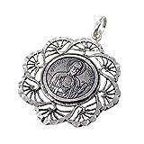 Medalla plata ley 925m San Judas Tadeo 34mm. cerco flecos mujer [AC1656GR] - Personalizable - GRABACIÓN INCLUIDA EN EL PRECIO