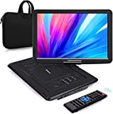 NAVISKAUTO 16' Portable DVD Player with HDMI Input Carrying Bag Rechargeable Battery Support 1080P MP4 USB Sync Screen Region Free