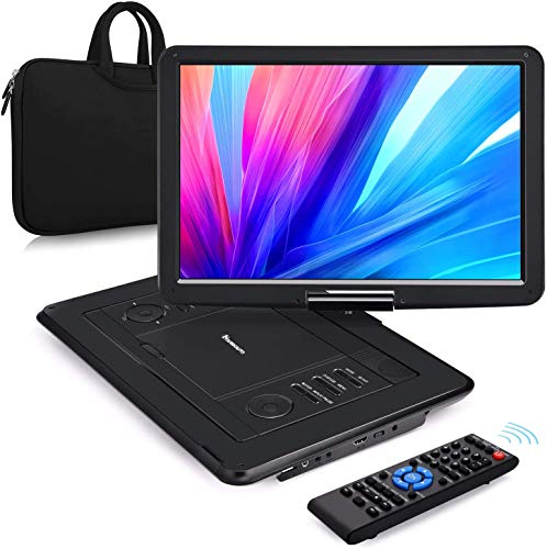 """NAVISKAUTO 16"""" Portable DVD Player with HDMI Input Carrying Bag Rechargeable Battery Support 1080P MP4 USB Sync Screen Region Free"""
