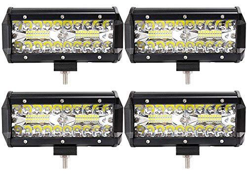 Leetop 4pcs 120W Projecteur Phare de Travail LED Barre de Travail étanche IP67 LED Antibrouillard Feux Diurne Lumière Off Road Lampe Feu de Travail pour Camion 4x4 Tracteur