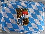 Tischfahne Bayern mit Wappen Größe 15 x 25 cm Polyester-Seide fertig konfektioniert für Tischständer