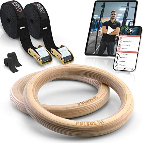 PULSUS fit Gymnastikringe Turnringe aus Holz mit Übungsvideo App + verstellbare Gurtschnallen + Fitnessringgurte mit Markierungen für Fitness Training & Workouts