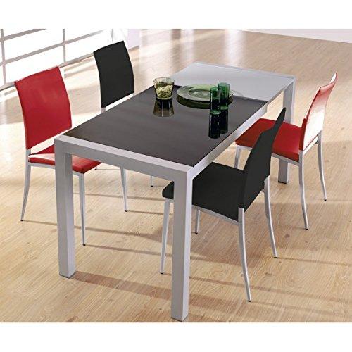SHIITO - Mesa de Cocina Extensible de Carro 122 x 70 cm en Aluminio y Tapa en Cristal
