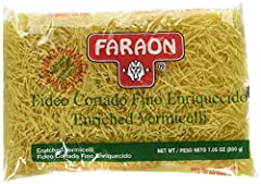 """Mexican style pasta Enriched durum wheat Thin cut vermicelli Country of origin is Mexico The package dimension of the product is 6""""L x 5""""W x 4""""H"""