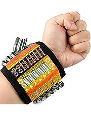 Magnetische armband met 15 sterke magneten voor het opbergen van kleine gereedschappen, schroeven, spijkers, gereedschap voor mannen/vader/echtgenoot/vaderdag/Valentijnsdag.