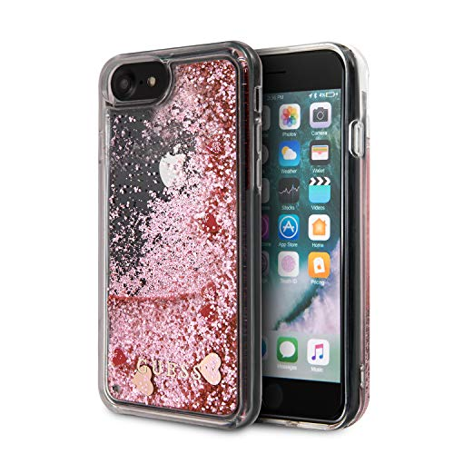 Guess GUHCI8GLHRERG - Cover per iPhone 7/8/SE 2020, con brillantini e cuori, colore: Rosa