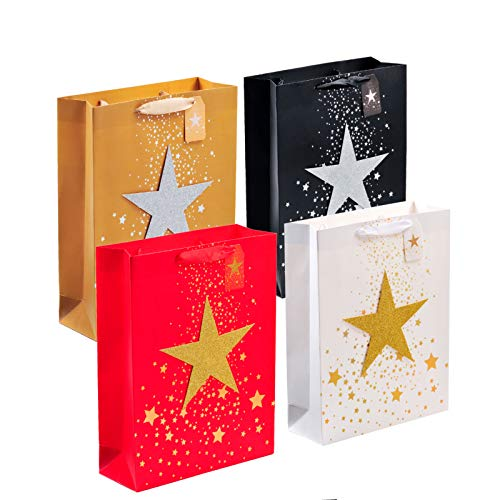 Gift Bags, 4 Pack Bling Gift Wrapping Bags with Stars, Large Size Gift Bags with Small Card, Gift Wrap Bags with Handles for Christmas, Thanksgiving Day, Gift Bags for Girls and Boys (Style E)