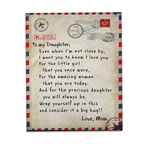 Augproveshak Decke Mit Personalisierter Nachricht Und Buchstaben, Bequeme Fleece-Decke, Letter Letters to My Daughter Express Love Blanket for Birthday Christmas Thanksgiving Graduation