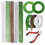 Allazone Kit D'outils de Composition Florale, 5 Couleurs Tape Strap Wrap, 5 Couleurs Fil de Fer Fleur Jauge 26, Ciseaux de Coupe pour Bouquet Tige Wrap Fleuriste