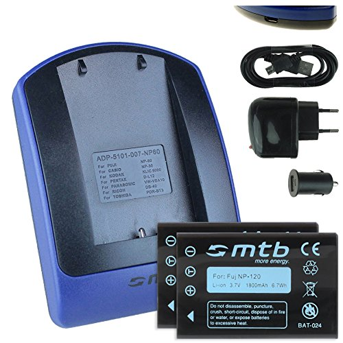 2 Akkus + Ladegerät (Netz+Kfz+USB) NP-120 für Fuji F10, F11, M603 / Aiptek Medion Rollei Toshiba Pentax, Siehe Liste!