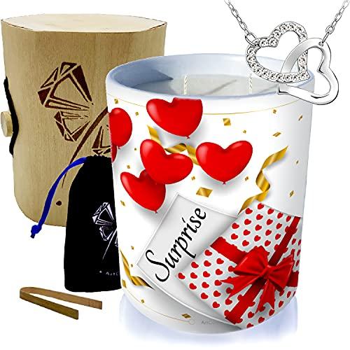 Vela con joya de plata decorada con cristales de Swarovski® • Vela de 2 mechas de decoración regalo de cera vegetal perfumada monoï de Tahití • Collar con 2 corazones