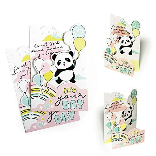 Biglietto di auguri di compleanno (2 pezzi) con panda e palloncini, biglietto di compleanno per...