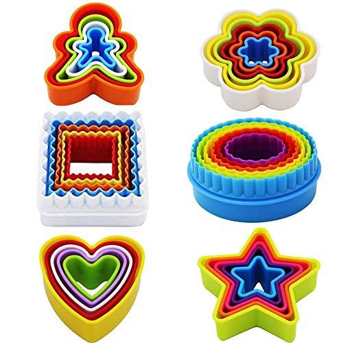 TSKDKIT 32 moldes de plástico para galletas, moldes de galletas para niños, moldes para tartas, galletas, frutas, sándwich, fondant