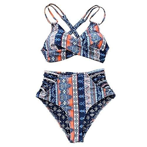 GPQHSM Bikini Boho Imprimir Delantero Cruzado del Bikini Piel de Las Mujeres ata for Arriba los Atractivos de los Altos de la Cintura de Tiras Dos Piezas Trajes de baño (Color : AB10534M, Size : L)