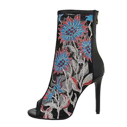 Ital-Design Damenschuhe Stiefeletten High Heel Stiefeletten Synthetik Schwarz Blau Gr. 35
