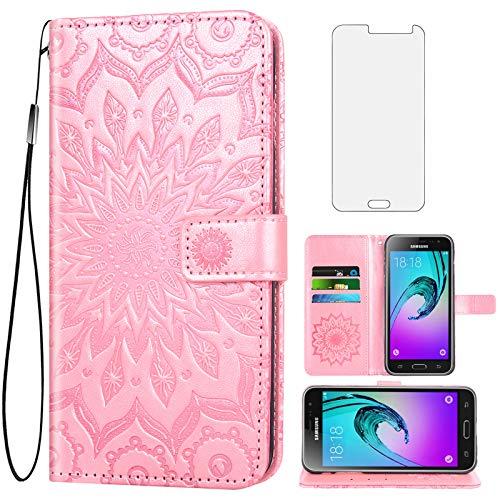 Phone Case for Samsung Galaxy J3 2016/J 3 V/J36V/Sky/Amp Prime Wallet Cases with Tempered Glass Screen Protector Leather Slim Flip Cover Card Cell Glaxay Sol J3V JV3 J36 6 J320V J320A Women Rose Gold