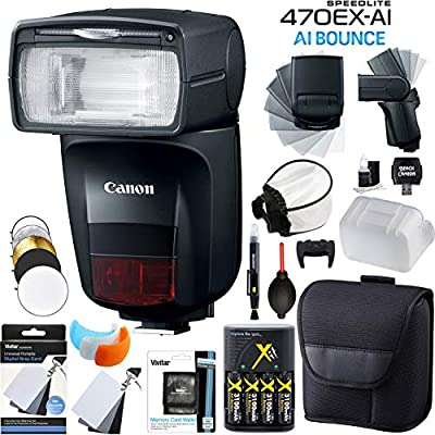 Canon Speedlite 470EX-AI AI Flash with Artificial Intelligence Bounce with Rechargeable Battery Kit Diffuser Reflector Covers Camera Accessory Bundle