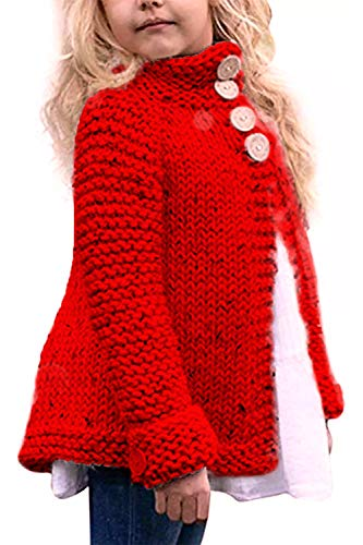 Toddler Baby Girls Autumn Winter Clothes Button Knitted Sweater Cardigan Cloak Warm Thick Coat (Red, 3 - 4 Years)