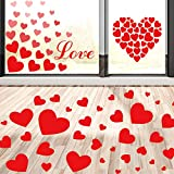 Whaline 295 Pcs Valentine's Day Heart Floor Decals Stickers and Heart Window Stickers, Red Heart Decals for Valentines Party Decorations, Wedding, Anniversary Decor (11 Sheets)