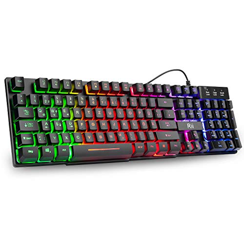 Rii RK100+ Gaming Tastatur, Office Tastatur USB, Regenbogen Beleuchtete Tastatur, Wired Keyboard ideal für PC/Laptop/PS4/Xbox One(Deutsches Layout)