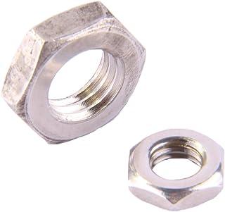 D´s Items® | Zeskantige moeren (laag, met face) - M8 - DIN 439 - roestvrij staal A2 - [10 stuks] - | contramoeren | halve ...