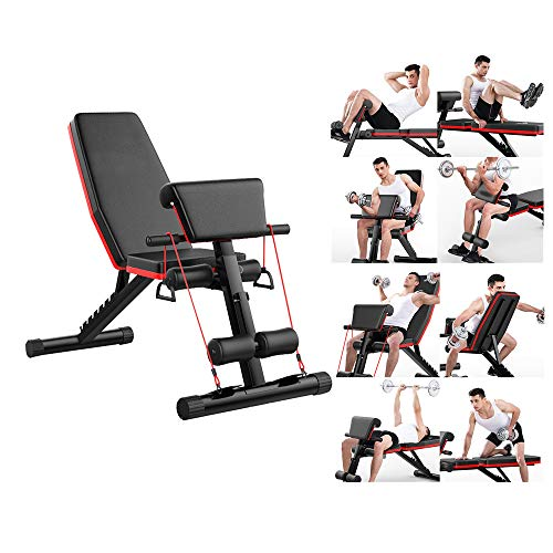 Adjustable Benchs Dumbbell Stool Roman Chair Sit Up Incline Abs Benchs Flat Fly Weight Press Weight Benchs Fitness Machine (Black)