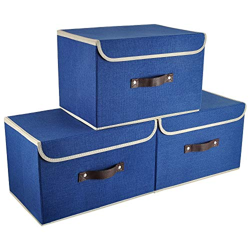 E-MANIS Cajas de almacenaje,Cajas de Almacenamiento con Tapas,Set de 3 Organizadores de Juguetes,Ropa y Libros para Dormitorios y Estanterías (Azul Marino)