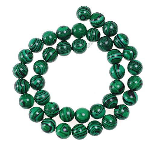 Natural Stone Beads 10mm Malachite Gemstone Round Loose Beads Crystal Energy Stone Healing Power for Jewelry Making DIY,1 Strand 15