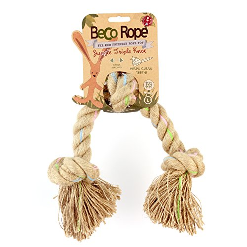 Beco - Cuerda de cáñamo natural resistente y duradera, juguete para perros – L – Triple nudo