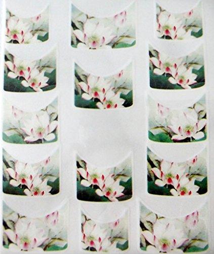 CM Nail Art manucure Stickers Ongles Scrapbooking: 14 décalcomanies Motifs Fleurs de Lotus Zen