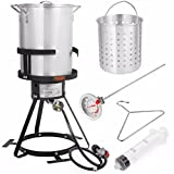 Stark Deluxe 30 QT Aluminum Turkey Deep Fryer Pot Boiling Lid Seafood Cajun Gas Stove Burner Stand Injector Thermometer CSA 55,000 BTU