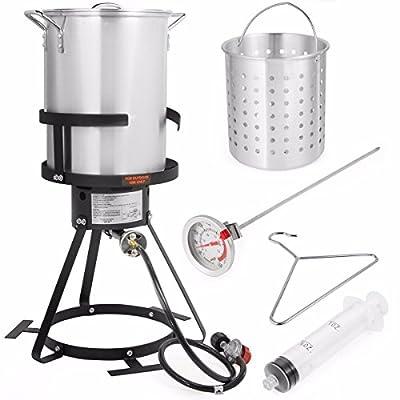 Stark USA 95528 Deluxe 30 QT Aluminum Turkey Deep Fryer Pot, Silver