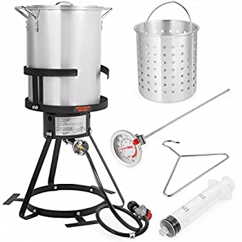 Barton Deluxe 30 QT Aluminum Turkey Deep Fryer Pot Boiling Lid Seafood Cajun Gas Stove Burner Stand Injector Thermometer 37,000 BTU