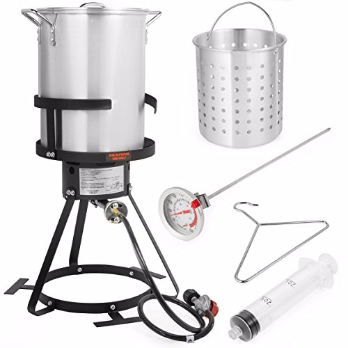 Stark Deluxe 30 QT Aluminum Turkey Deep Fryer Pot...